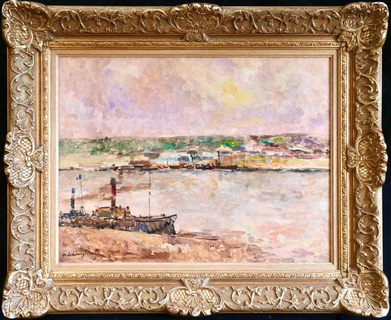 Near Rouen - River Seine - 19th Century Oil Boats in Riverscape - Albert Lebourg - Painting by Albert Lebourg