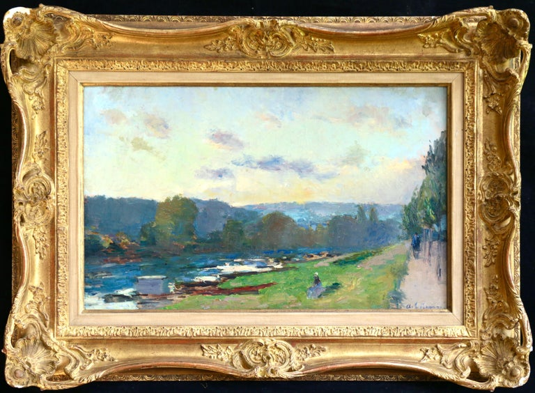 On the Seine - 19th Century Oil, Figures & Trees by River Landscape by A Lebourg - Painting by Albert Lebourg