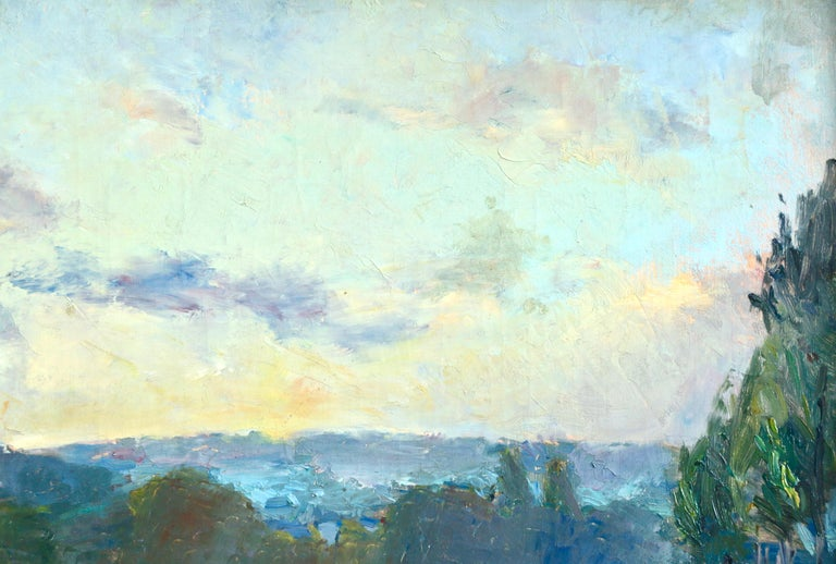 Oil on canvas circa 1895. Signed lower right. Framed dimensions are 23.5 high by 32.5 wide.  Albert Lebourg (French, 1849–1928) was an Impressionist and landscape painter. Born in Montfort-sur-Risle, Lebourg trained as an architect, and taught