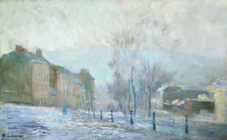 Rouen - Hiver - 19th Century Oil, Snowy Winter Landscape by Albert Lebourg