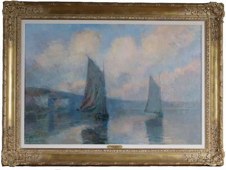 Sailing Boats in Mist on the Seine ,1910 - Painting by Albert Lebourg