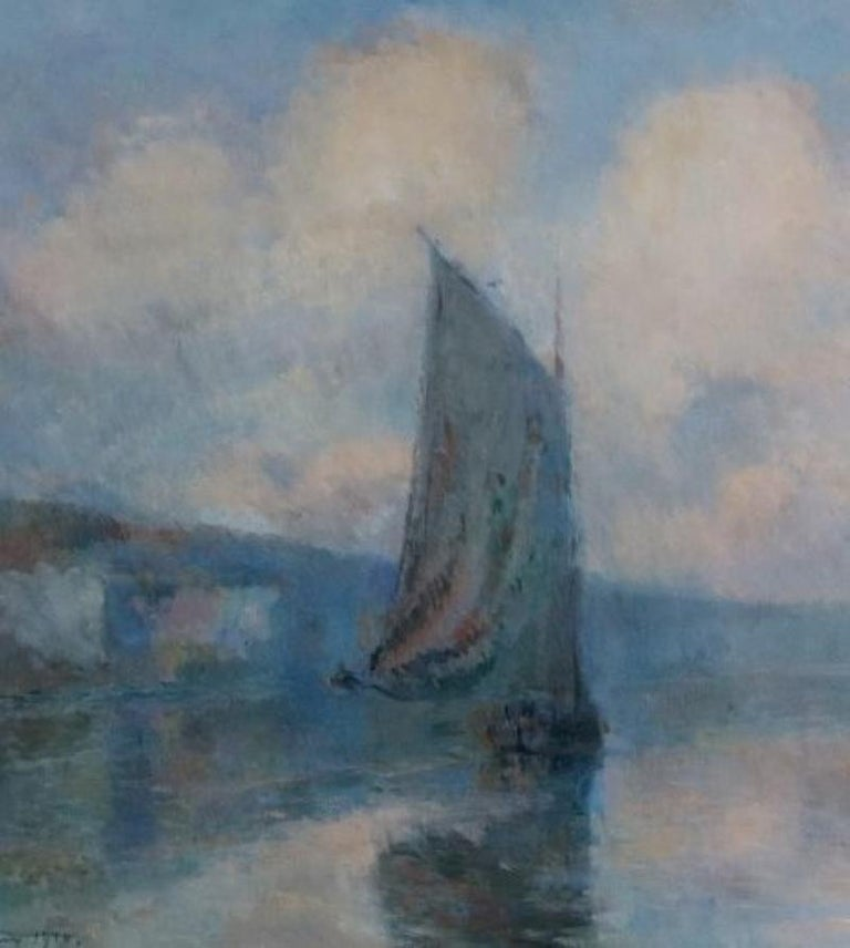 Sailing Boats in Mist on the Seine ,1910 - Impressionist Painting by Albert Lebourg