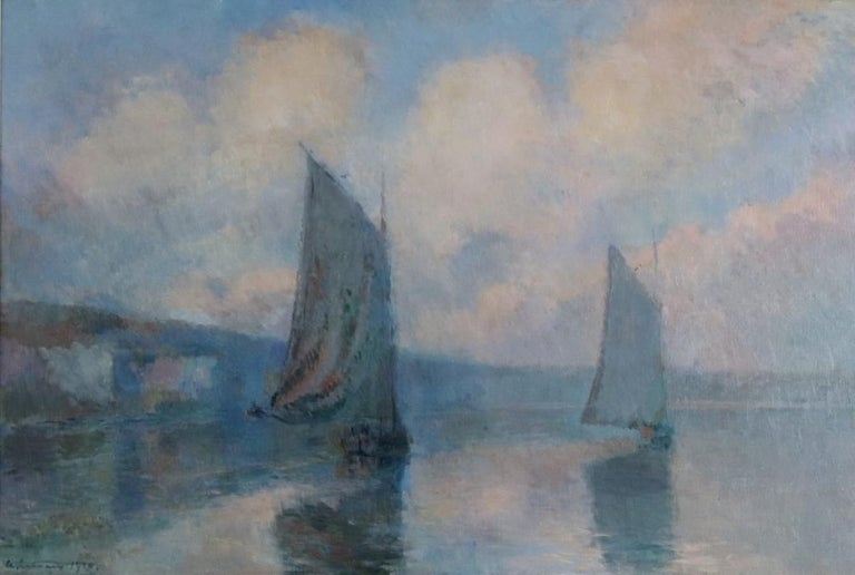 Albert Lebourg Landscape Painting - Sailing Boats in Mist on the Seine ,1910