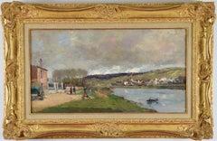 Village et Promeneurs en Bord de Seine by Albert Lebourg - Impressionist oil