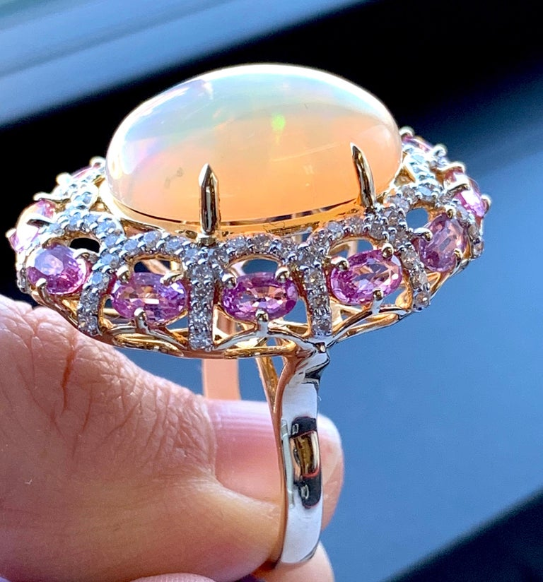 Alberto 8.85 Carat Opal, Pink Sapphire and Diamond Ring For Sale 1