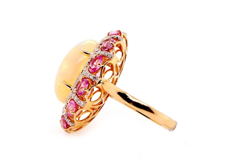 Contemporary Alberto 8.85 Carat Opal, Pink Sapphire and Diamond Ring For Sale