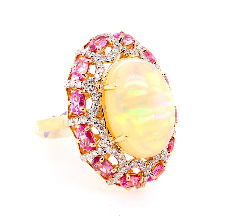 Oval Cut Alberto 8.85 Carat Opal, Pink Sapphire and Diamond Ring For Sale