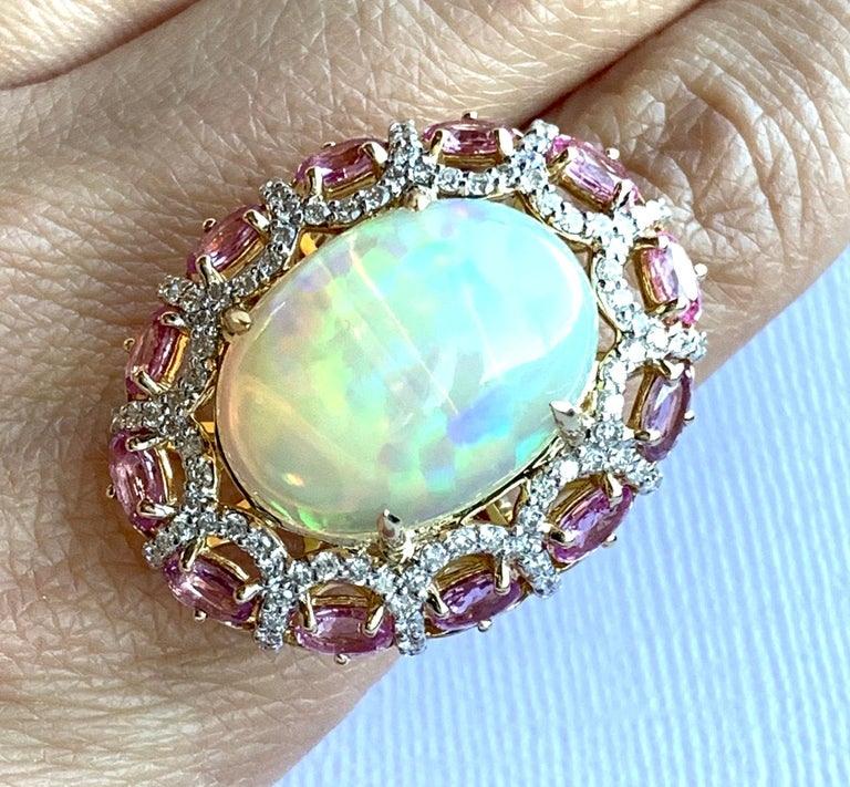 Alberto 8.85 Carat Opal, Pink Sapphire and Diamond Ring For Sale 5