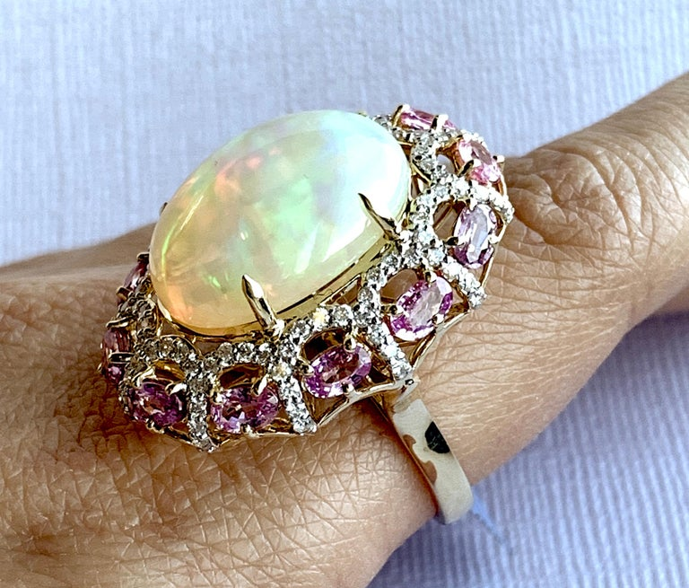 Alberto 8.85 Carat Opal, Pink Sapphire and Diamond Ring For Sale 7