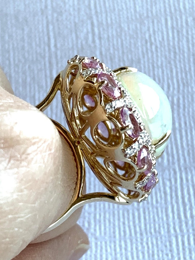 Alberto 8.85 Carat Opal, Pink Sapphire and Diamond Ring For Sale 8