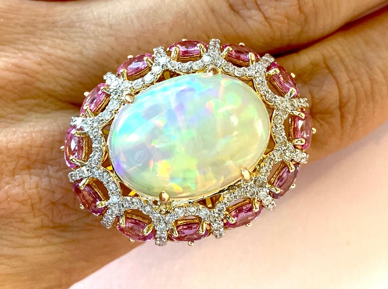 Alberto 8.85 Carat Opal, Pink Sapphire and Diamond Ring For Sale 6
