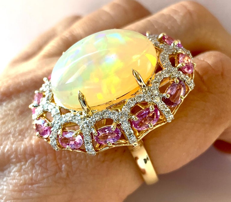 Alberto 8.85 Carat Opal, Pink Sapphire and Diamond Ring For Sale 9