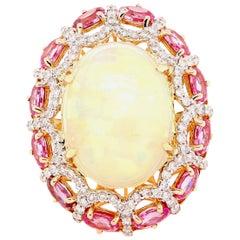 Alberto 8.85 Carat Opal, Pink Sapphire and Diamond Ring