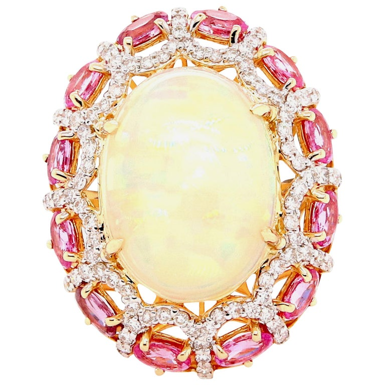 Alberto 8.85 Carat Opal, Pink Sapphire and Diamond Ring For Sale