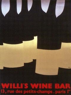 1982 Alberto Bali 'Willi's Wine Bar' Vintage Red,Black France Lithograph