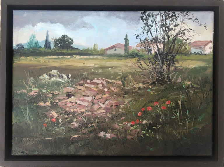 Country scene Spain oil on canvas painting landscape - Painting by Alberto Biesok