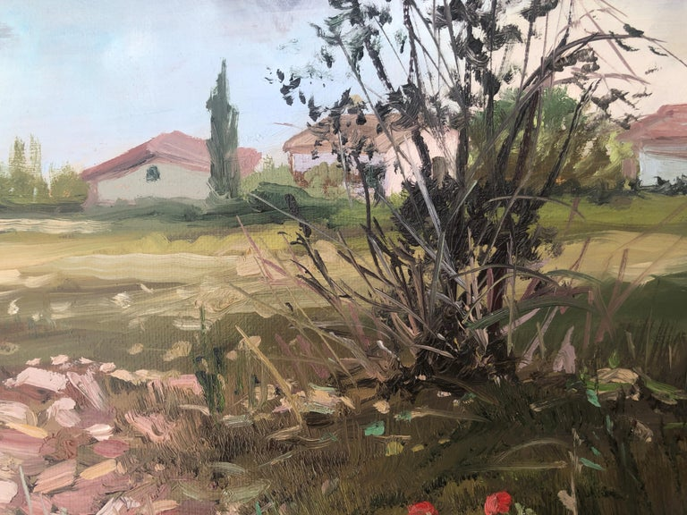 Country scene Spain oil on canvas painting landscape - Realist Painting by Alberto Biesok