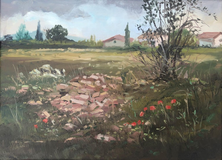 Alberto Biesok Landscape Painting - Country scene Spain oil on canvas painting landscape