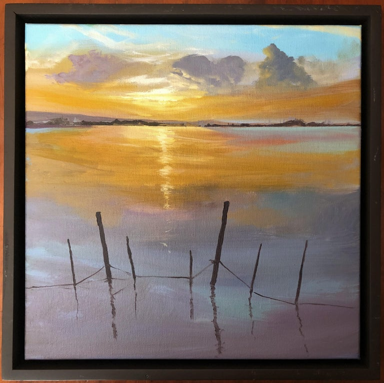 Sun in the Albufera of Valencia Spain oil on canvas painting landscape - Painting by Alberto Biesok