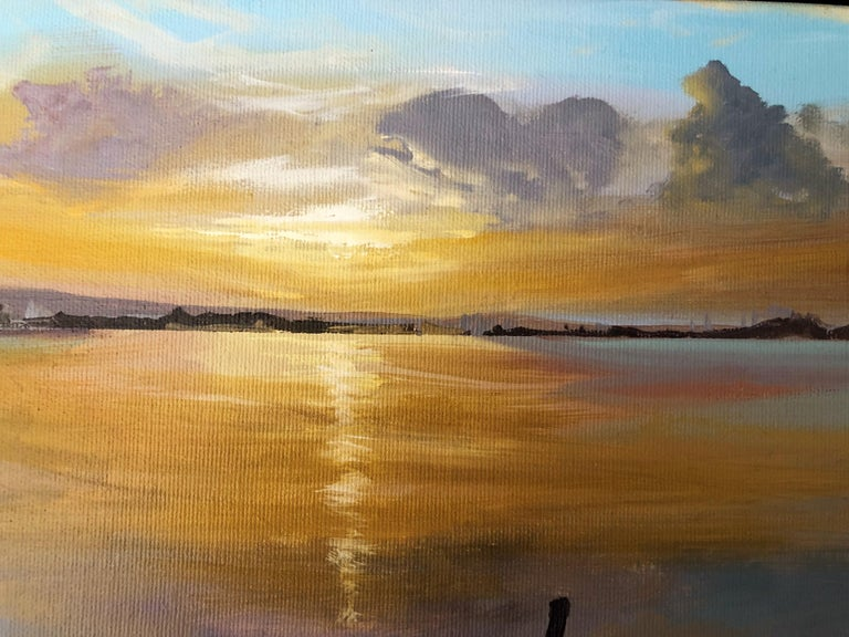 Sun in the Albufera of Valencia Spain oil on canvas painting landscape - Brown Landscape Painting by Alberto Biesok