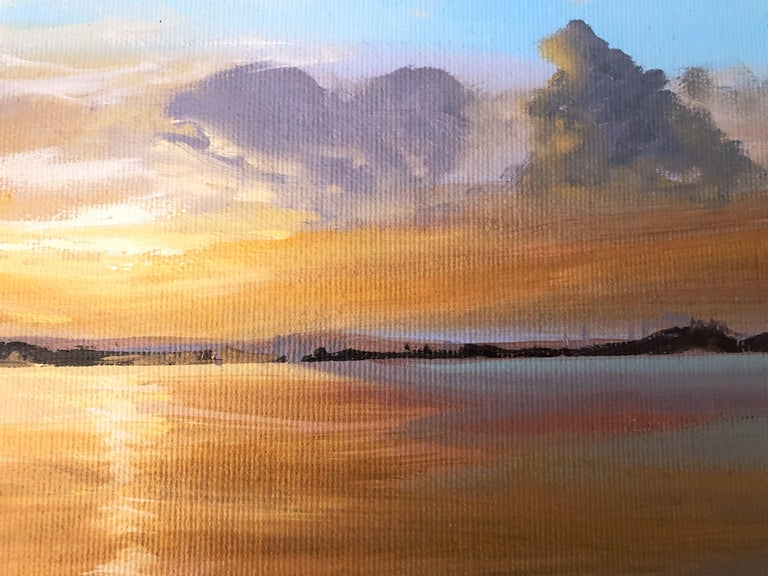 Sun in the Albufera of Valencia Spain oil on canvas painting landscape For Sale 2