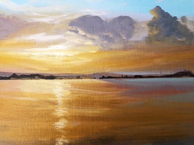Sun in the Albufera of Valencia Spain oil on canvas painting landscape For Sale 3
