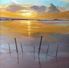 Sun in the Albufera of Valencia Spain oil on canvas painting landscape
