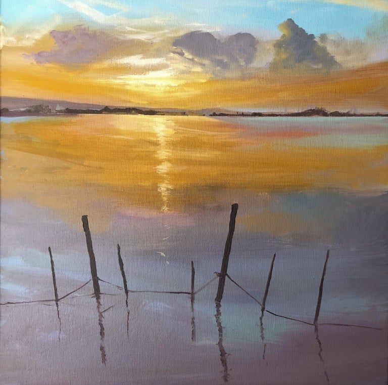 Alberto Biesok Landscape Painting - Sun in the Albufera of Valencia Spain oil on canvas painting landscape