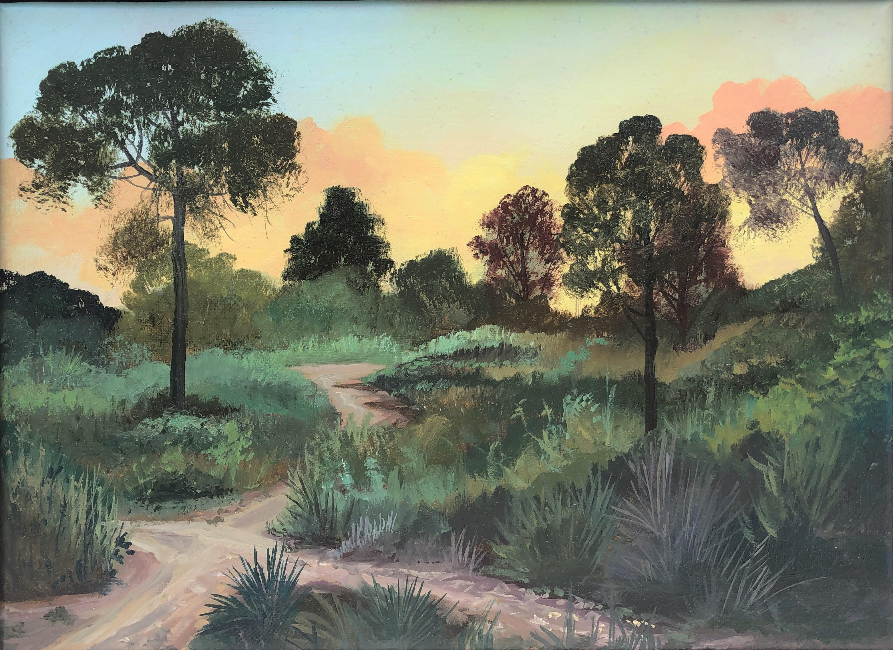 Sunset in the forest oil paint on canvas seascape