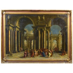 Alberto Carlieri, Capriccio with Christ and the Adulteress, Oil on Canvas