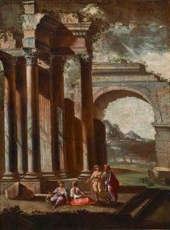 18th Century Alberto Carlieri Capriccio Landscape Oil on Canvas Grey Red Yellow