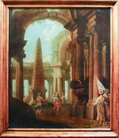Capriccio with Ruins - Oil on Canvas by Alberto Carlieri - Late 17th Century