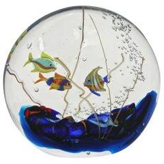 Alberto Dona 1980 Blue Red Yellow Green Murano Glass Aquarium Round Sculpture