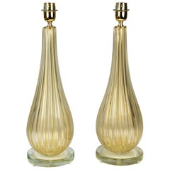 Alberto Donà Art Deco Gold Leaf Two of Murano Glass Table Lamps, 1998