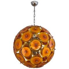 Alberto Donà Contemporary Nickel Brown Orange Yellow Murano Glass Chandelier