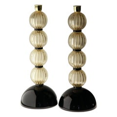 Alberto Donà,  Deco Table Lamps, Rigadin Gold Leaf Spheres, Black Accents, Pair