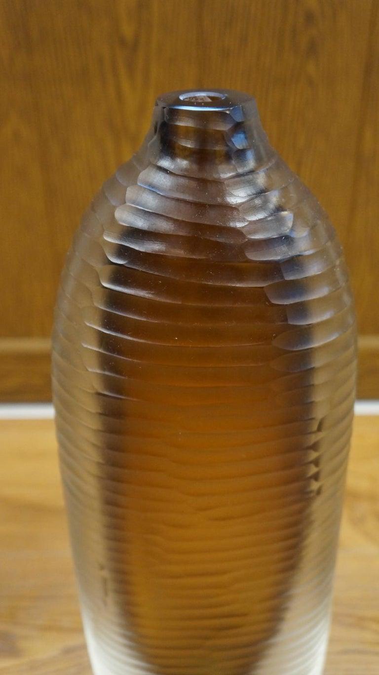 Alberto Donà Mid-Century Modern Amber Clear Three Molato Murano Glass Vases 1992 For Sale 4