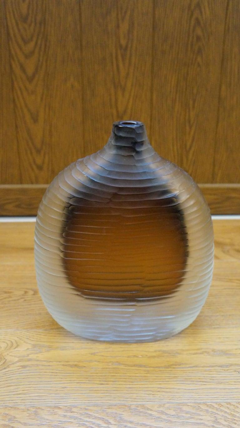 Alberto Donà Mid-Century Modern Amber Clear Three Molato Murano Glass Vases 1992 For Sale 5