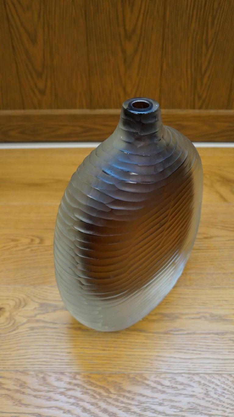 Alberto Donà Mid-Century Modern Amber Clear Three Molato Murano Glass Vases 1992 For Sale 6