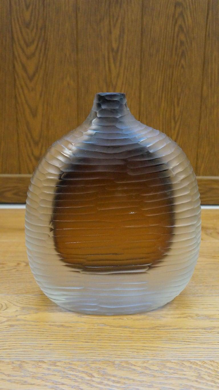 Alberto Donà Mid-Century Modern Amber Clear Three Molato Murano Glass Vases 1992 For Sale 7
