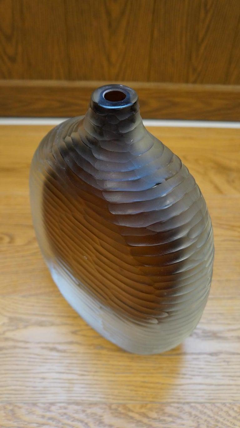 Alberto Donà Mid-Century Modern Amber Clear Three Molato Murano Glass Vases 1992 For Sale 8