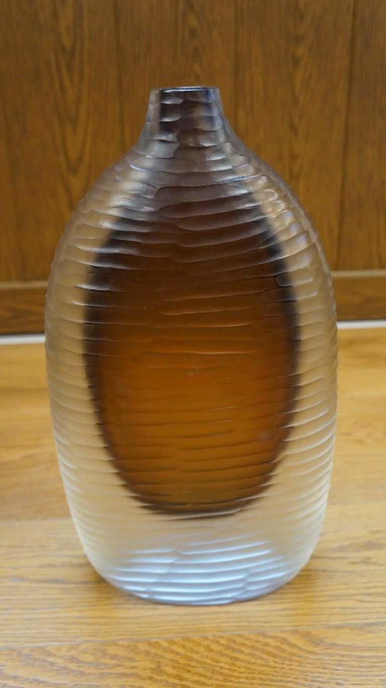 Alberto Donà Mid-Century Modern Amber Clear Three Molato Murano Glass Vases 1992 For Sale 12