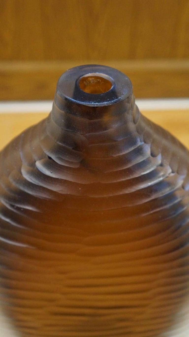 Alberto Donà Mid-Century Modern Amber Clear Three Molato Murano Glass Vases 1992 For Sale 13