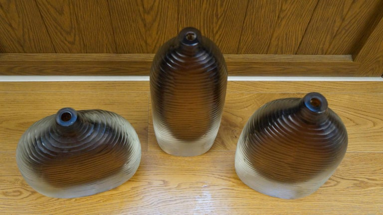 Hand-Crafted Alberto Donà Mid-Century Modern Amber Clear Three Molato Murano Glass Vases 1992 For Sale