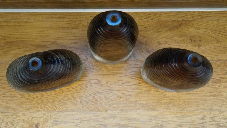 Alberto Donà Mid-Century Modern Amber Clear Three Molato Murano Glass Vases 1992 In Excellent Condition For Sale In Murano, Venezia