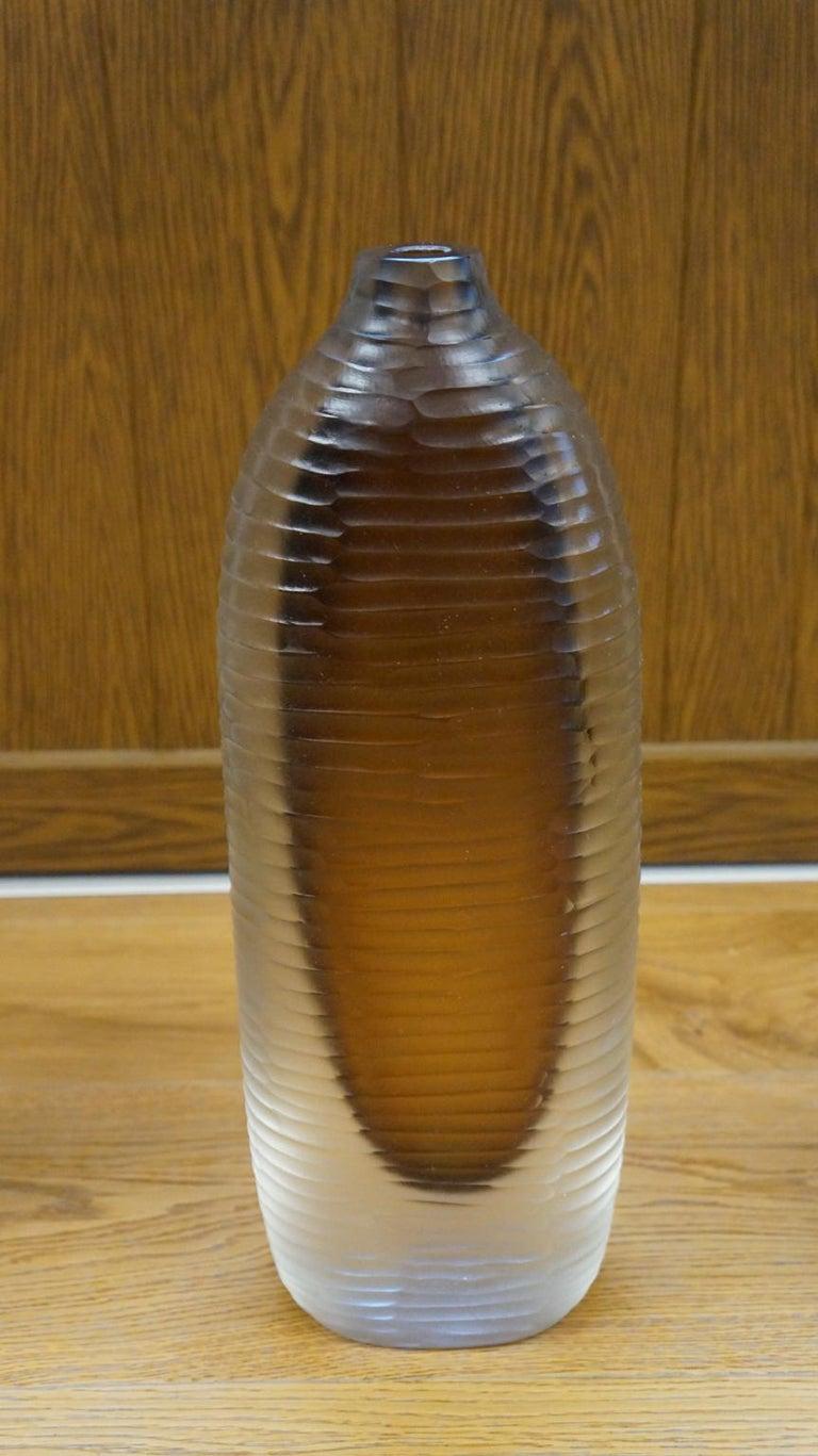 Late 20th Century Alberto Donà Mid-Century Modern Amber Clear Three Molato Murano Glass Vases 1992 For Sale
