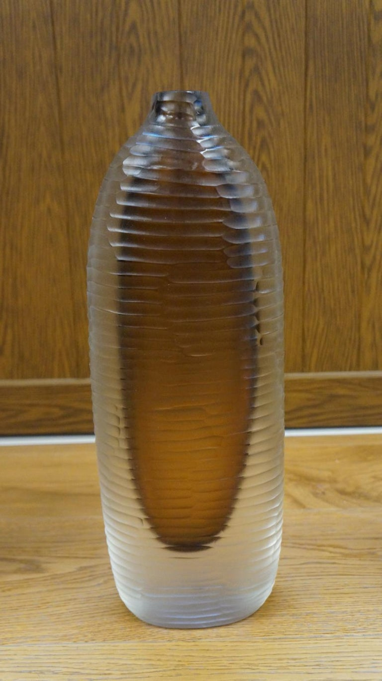 Alberto Donà Mid-Century Modern Amber Clear Three Molato Murano Glass Vases 1992 For Sale 2