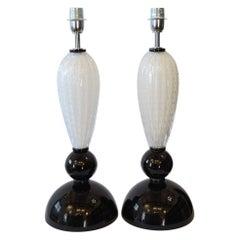Alberto Donà Mid-Century Modern Black White Two Murano Glass Table Lamps, 1995