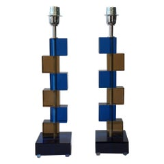Alberto Donà Mid-Century Modern Blue Smoke Two Murano Glass Table Lamps, 1975