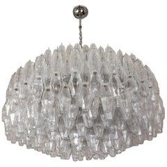 Alberto Donà Mid-Century Modern Crystal Murano Glass Poliedri Chandelier, 1985